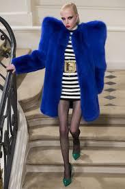 blue fur coat with oversized shoulders saint lau