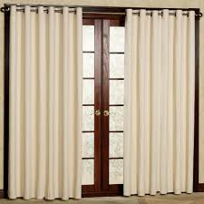 glass interior double glass door with brown wooden frame combined with long cream curtains on the beautiful combination wood metal furniture
