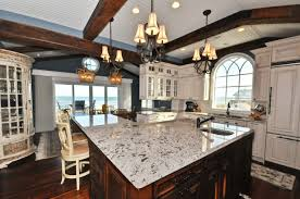White Ice Granite Kitchen Furniture White Ice Granite With Recessed Lighting Also Breakfast