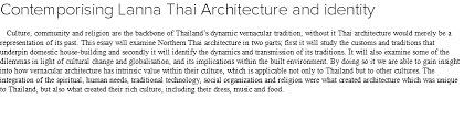 essay   thai architectural identity contemporising lanna thai architecture and identity culture community and religion are the backbone of thailands