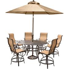 hanover manor 7 piece aluminum round outdoor high dining set with swivels cast