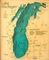 Hyrdography Of Lake Michigan Lake Art Map Lake Michigan