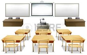 classroom table vector. empty classroom with monitor and desks vector table
