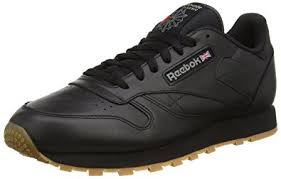 reebok running shoes black. reebok classic leather, men\u0027s training running shoes, black (black/gum), shoes