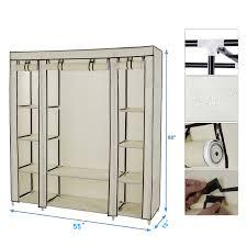 54 x 69 portable closet storage organizer wardrobe clothes rack with shelves com