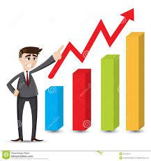 Chart Cartoon Cartoon Businessman With Grow Up Chart Stock Vector