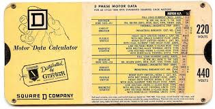 Motor Data Calculator Square D Company 3phase 1965 Slide