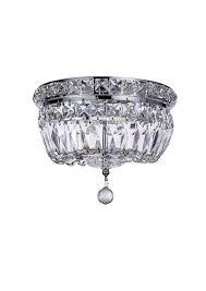 new galaxy 2 light chrome finish crystal shade chandelier flushmount ceiling fixture eeeanubxo