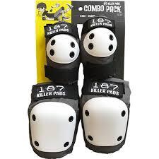 187 Killer Pads Combo Pack Grey Knee Elbow Pad Set Small Medium
