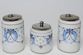 milk glass vanity jars hand painted set of 3 by showplace antique design center 942481 bidsquare
