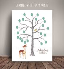 Woodland Deer Baby Shower Guest Book Thumbprint Birch Tree Fingerprint Baby Shower Tree