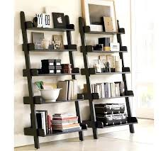 wall bookcase with ladder studio wall shelves pottery barn on antique white black or library wall bookcase