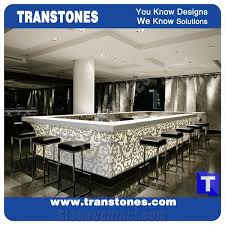 hot 3d waterjet carving relief design artificial marble bar tops reception desk engineered glass stone white club worktop table bench top wine counter