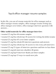 Top 40 Office Manager Resume Samples Interesting Office Manager Resume