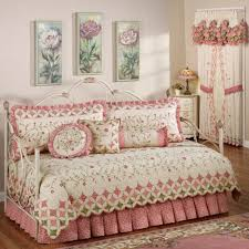 Interior. White Steel Daybed With White Pink Floral Comforter Bedding Set  Feat White Curtains With
