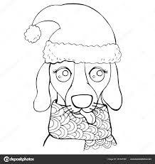 Snuit Van Een Hond Een Muts Sjaal Nieuwjaar Pagina Van Stockvector