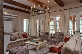 chic drapery fabric technique other metro transitional family room decorating ideas with brown coral draperies embroidery french doors ikat keeping room chic family room decorating