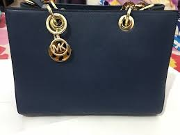michael kors cynthia saffiano leather satchel blue color new with tag
