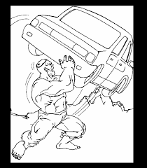Marvel Superhero The Incredible Hulk Throwing A Car Coloring Page