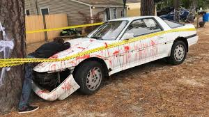 Bloody Toyota Supra Crash Halloween Display in New Jersey Sparks ...