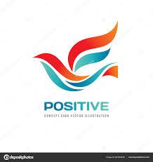 Positive Graphic Design Positive Abstract Colored Bird Vector Logo Template Concept