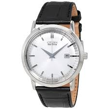 citizen eco drive silver dial stainless steel black leather men s watch bm7190 05a