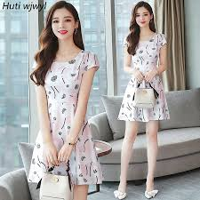 Summer Plus Size Striped Beach Mini Dresses 2019 Korean New ...