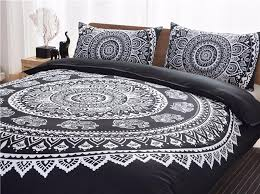 bohemia style black white purple printing duvet cover set quilt cover pillow case queen size
