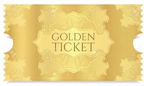 Golden Cinema Ticket Template Concert Ticket On Gold Background