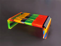 table basse en altuglass cm 120x60h40 coffee table in plexiglas multicolor