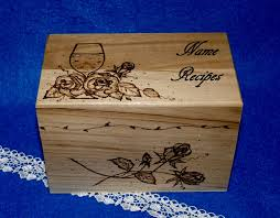 decorative wood burned wedding recipe card box rustic wooden decorative card boxes