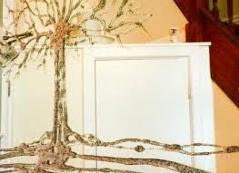 silver glitter swarovski tree liquid glass wall art mirror