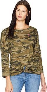 Us Polo Assn Womens Long Sleeve Tie Front Tee Shirt