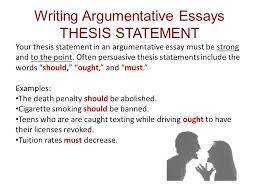 Thesis Statement For Education Essay Writing Thesis Statements For Argumentative Essays About