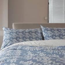 the white room blue white fl silhouette cotton single duvet set