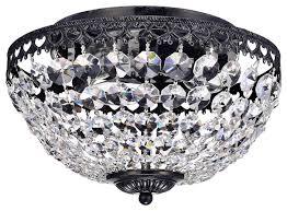 bowl shaped 3 lights crystal flush mount chandelier antique black
