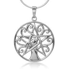 925 Sterling Silver Open Filigree Tree of Life Pentacle Pentagram ...