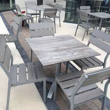 Seaside Gray Outdoor mercial Synthetic Teak by BFM Seating