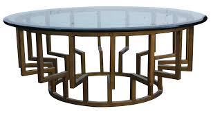 amazing modern rounded glass top coffee table with metal base as inspiring modern side table design ideas