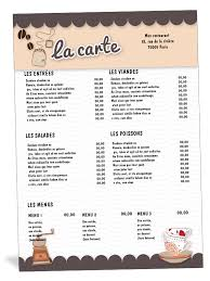 A La Carte Menu Template Restaurant Menu Template Free Clipart Images Gallery For