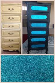 diy glitter furniture. DIY Vintage Dresser For Kids Room Painted With Plaster Paint, Mod Podge Drawer Face Glitter Wrapping Paper. Just Need To Add The Custom Black White Diy Furniture C