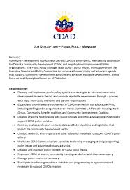 Cdad Public Policy Manager Job Description – Community Development ...