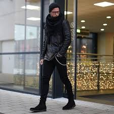 Shop with afterpay on eligible items. Picture Of Black Jeans Black Chelsea Boots A Grey Sweater A Black Leather Coat Scarf And Beanie
