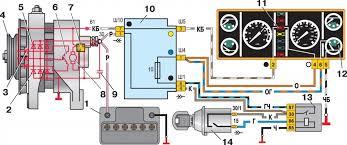 Контрольная лампа зарядки аккумулятора бортжурнал Лада  Схема включения генератора 37 3701