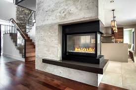 three sided gas fireplace family room contemporary with 3 sided