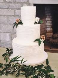 Nashville Sweets Textured Buttercream Lines Wedding Cake With Greenery