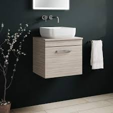 emily 500mm wall mounted 1 drawer unit and countertop driftwood
