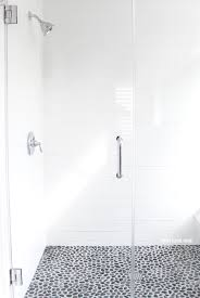 gray and white bathroom ideas long white subway tiles large glass shower doors