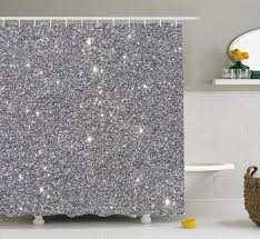 luxurious silver sequin shower curtain