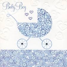 Blue Pram Hearts New Baby Boy Card